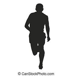 coureur, devant, silhouette., vue
