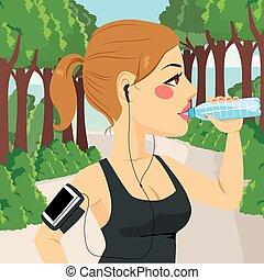 coureur, eau, boire, femme
