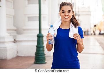 coureur, eau, boire, joli