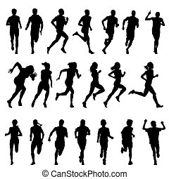 coureur, ensemble, women., hommes, silhouettes, courant, sport, course