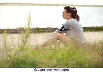 coureur, fatigué, herbe, femme, séance