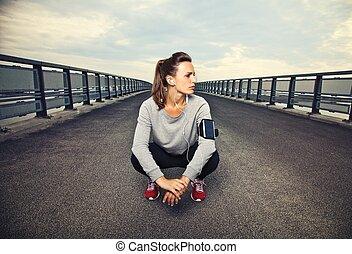 coureur, femme, séance