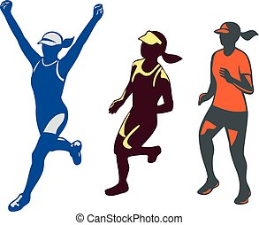 coureur, femme, triathlete, marathon, collection