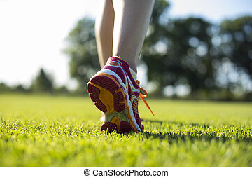 coureur, formation, concept, haut, pieds, fin