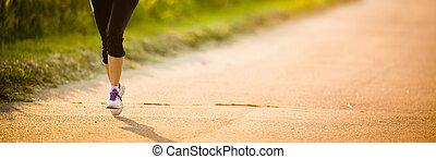 coureur, jambes, détail, route, femme