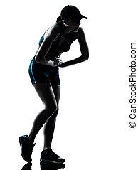 coureur, joggeur, femme, essoufflé, fatigué