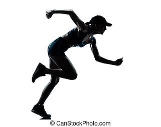 coureur, joggeur, femme, silhouette