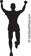 coureur, joggeur, silhouette, ou