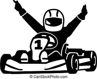 coureur, kart, enjôleur