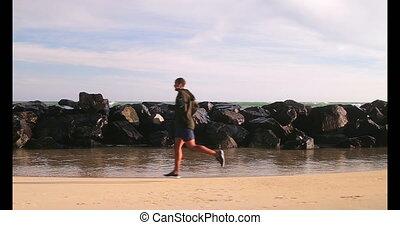 coureur, mâle africain, jogging, américain, plage, 4k
