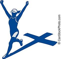 coureur, ombre, femme, marathon, croix