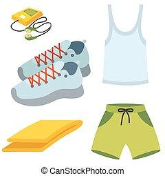 coureur, séance entraînement, illustration, courant, vecteur, engrenages, sport, vêtements de sport, vêtements