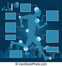 coureur, santé, disposition, infographics
