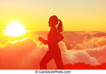 coureur, soleil, femme, coucher soleil, courant