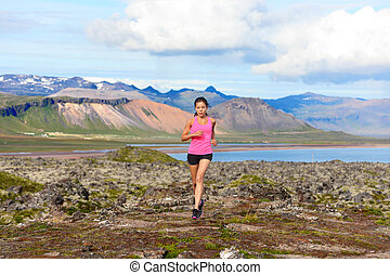 coureur, traîner courir, femme, nature