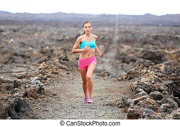 coureur, traîner courir, femme, triathlete