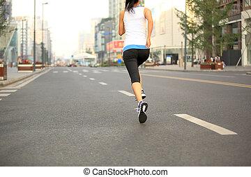 coureur, ville, athlète, courant, route