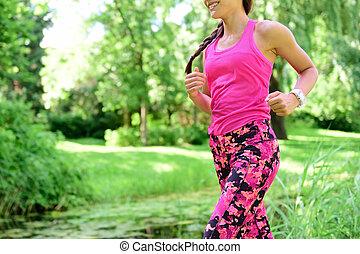 coureur, ville, jogging, femme, parc