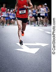coureurs marathon, -, mouvement brouillé