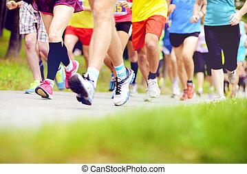 coureurs, non identifié, courant, marathon