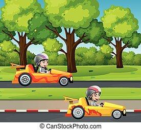 coureurs, voiture courir, deux, route