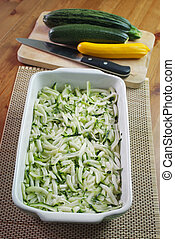 Courgette and feta souffle - Making of courgette and feta...