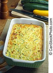 Courgette and feta souffle. Seasonal dish.