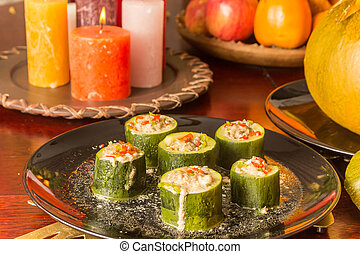 Courgette filled with minced meat and spicy red pepper
