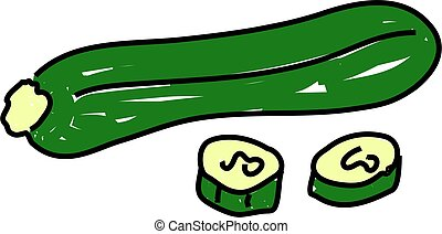 courgette isolated on white drawn in toddler art style