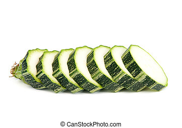 Slices of zucchini marrow isolated on white, horizontal