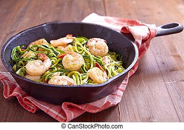 courgette, spaghetti, crevette