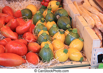 Courgettes and tomatoes