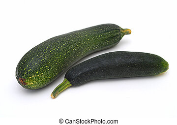 Two courgettes on the white background