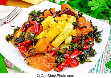 Courgettes with vegetables in plate