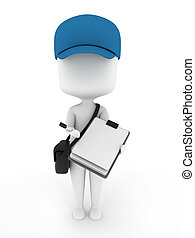 Courier - 3D Illustration of a Delivery Guy presenting Paper...