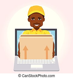Courier Boy Package Online Delivery - African American...