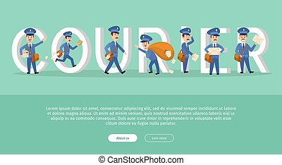 Courier Conceptual Web Banner with Cartoon Postman