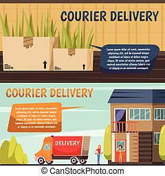 Courier Delivery 2 Orthogonal Banners