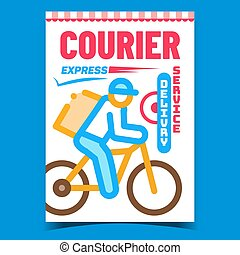 Courier Delivery Creative Advertise Banner Vector