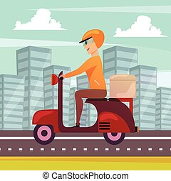Courier Delivery Orthogonal Background Poster