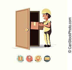 courier delivery service with box icon vector ilustration