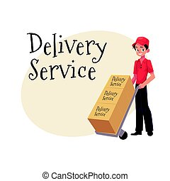 Courier, delivery service worker, hand cart, dolly loaded...