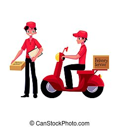 Courier, delivery service worker holding package, pushing dolly with boxes