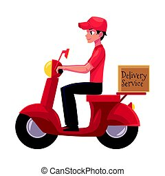 Courier, delivery service worker riding scooter, motorcycle loaded with boxes