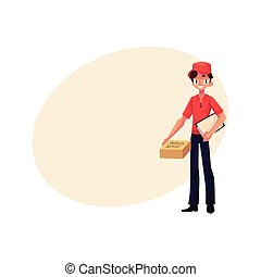 Courier, delivery service worker standing with clipboard and parcel box