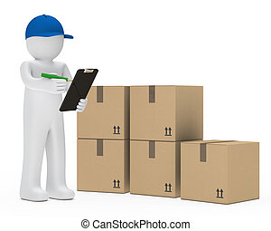 courier figure with cap make signs package