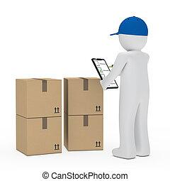 courier, figuur, verpakken