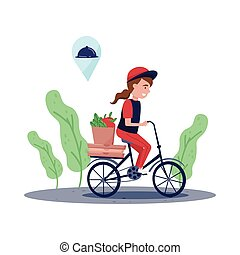 Courier girl riding bicycle with paper bag full of products and pizza boxes. Food delivery service. Flat vector design