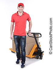 Courier - Happy smiling delivery man carrying boxes isolated...