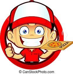 courier, het opgeven, aflevering, vorm, duimen, cirkel, man, pizza